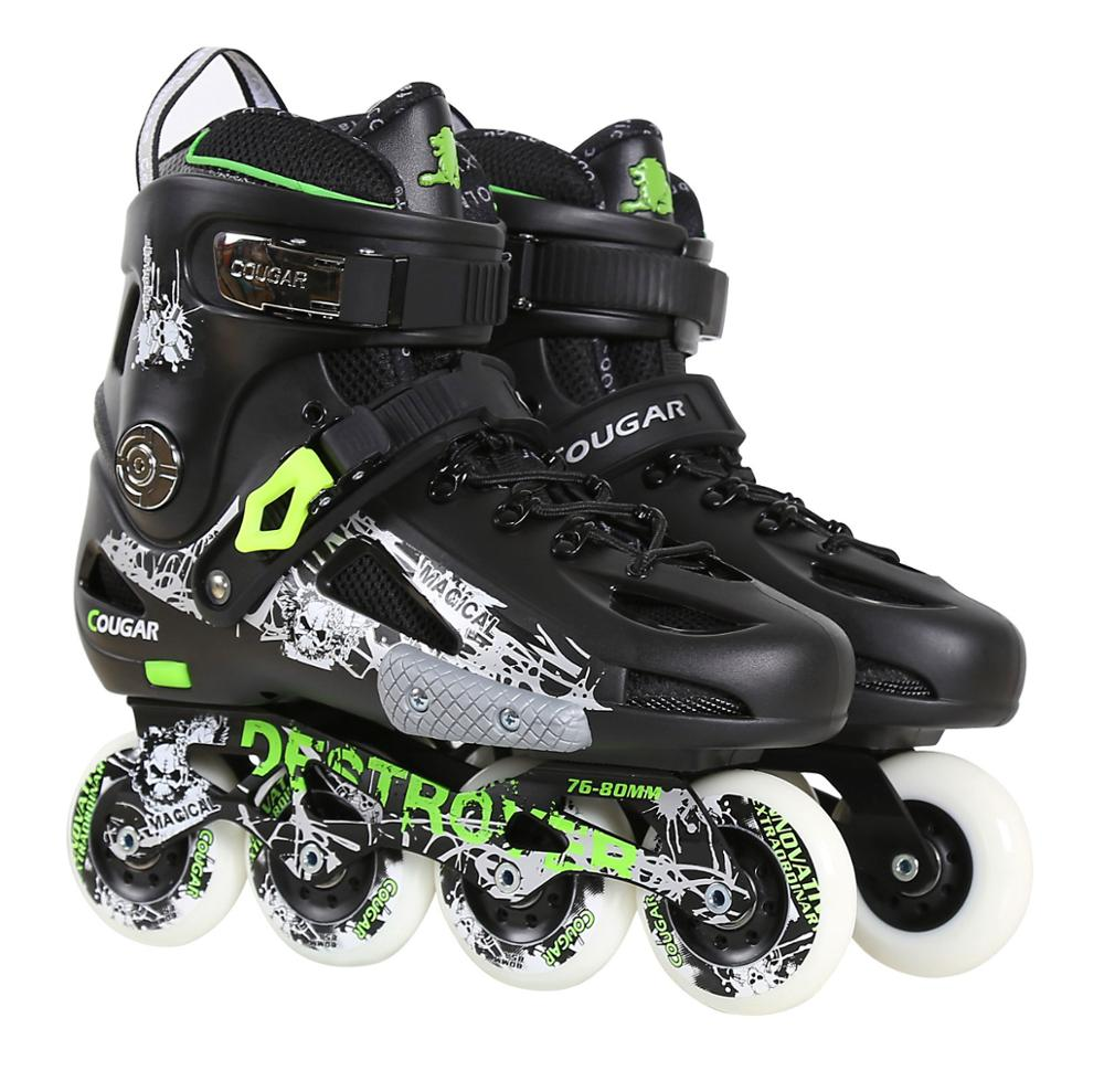 JK Original Cougar MZS507 Inline Skates Slalom Sliding Free Skating Roller Skates Adult Kids Skating Shoes Patins Sneaker P7