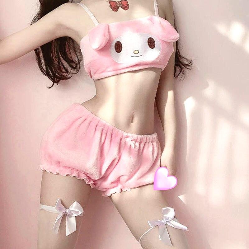 Комплект бархатных трусиков аниме Melody Kwaii, красивое нижнее белье с длинными ушками, милый бюстгальтер, шаровары, Сексуальное белье для девуш...
