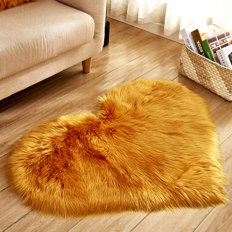Love Heart Rugs Artificial Wool Hairy Carpet Faux Floor Mat Fur Plain Fluffy Area Rug Soft Living Room Carpet Bedroom Floor Mat