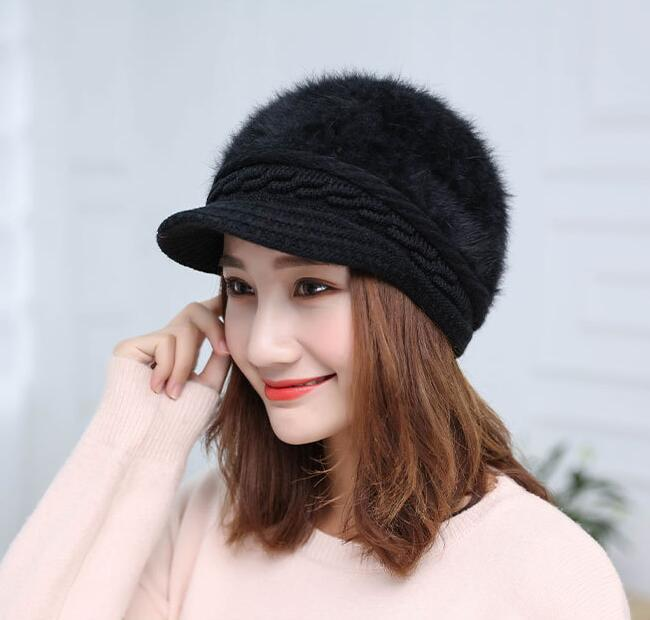 MISSKY Women Caps Solid Color Fashion Warm Imitation Rabbit Hair Knitting Hat For Winter Wear