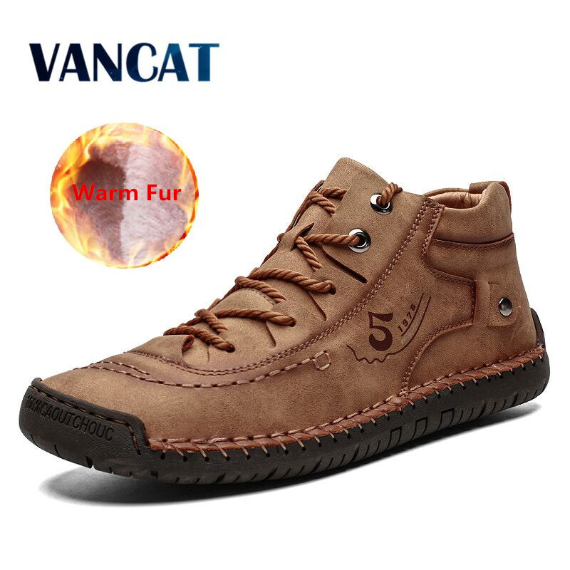 2019 Winter Men Ankle Boots Plush Warm Snow Boots Fashion Flat Boots Lace-up Men's Boots Outdoor Motorcycle Boots Big Size 39-48