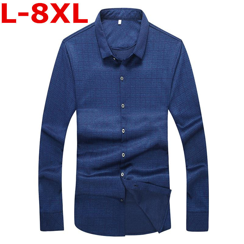 Plus Size 8XL 7XL 6XL 5XL  New Men Plaid Shirt Lapel Leisure Youth College Student  Long-sleeved Fashion And Leisure Shirt