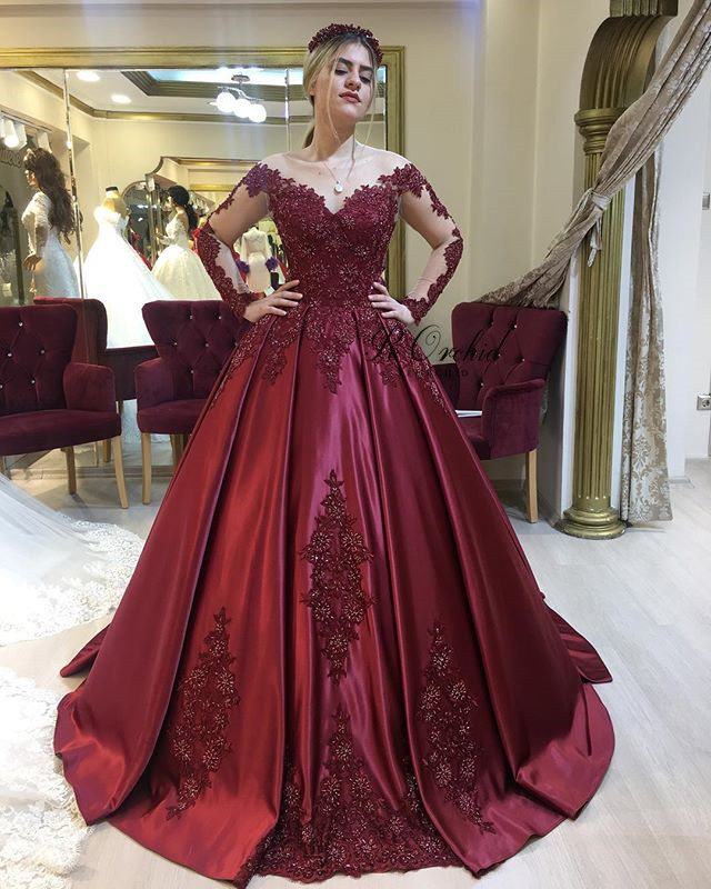 Peorchid Burgundy Lace Wedding Dress Transparente Long Sleeves