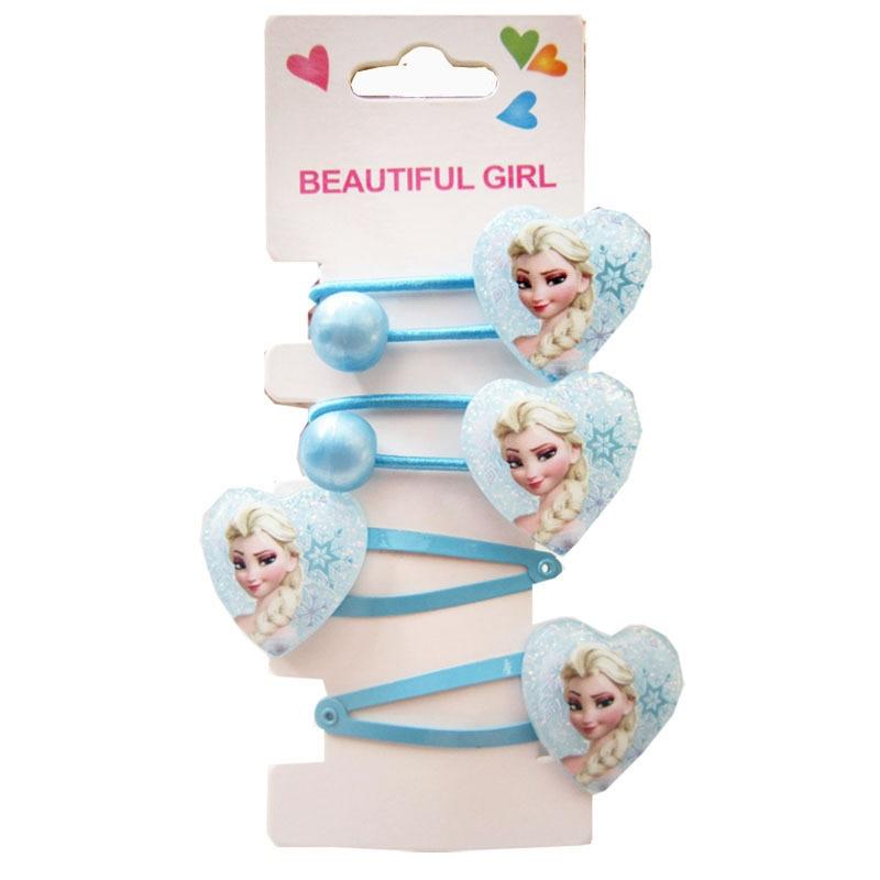 4 pièces de dessin animé Disney, pinces à cheveux pour enfants, Elsa et Anna, accessoires pour poupée en corde, accessoires pour cheveux, jouets de maquillage, cadeaux