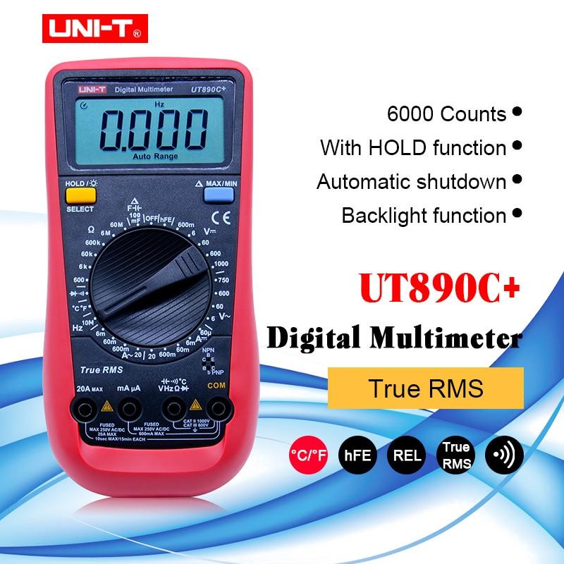 UNI T UT890C+ True RMS Digital Multimeter with C/F Temperature Capacitance Frequency Multi Meter Diode Tester Multimeters     - title=