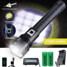 16-core xhp160 ultra poderoso 10000lm zoomable lanterna portátil à prova dwaterproof água tático caça luz carga usb como banco de potência