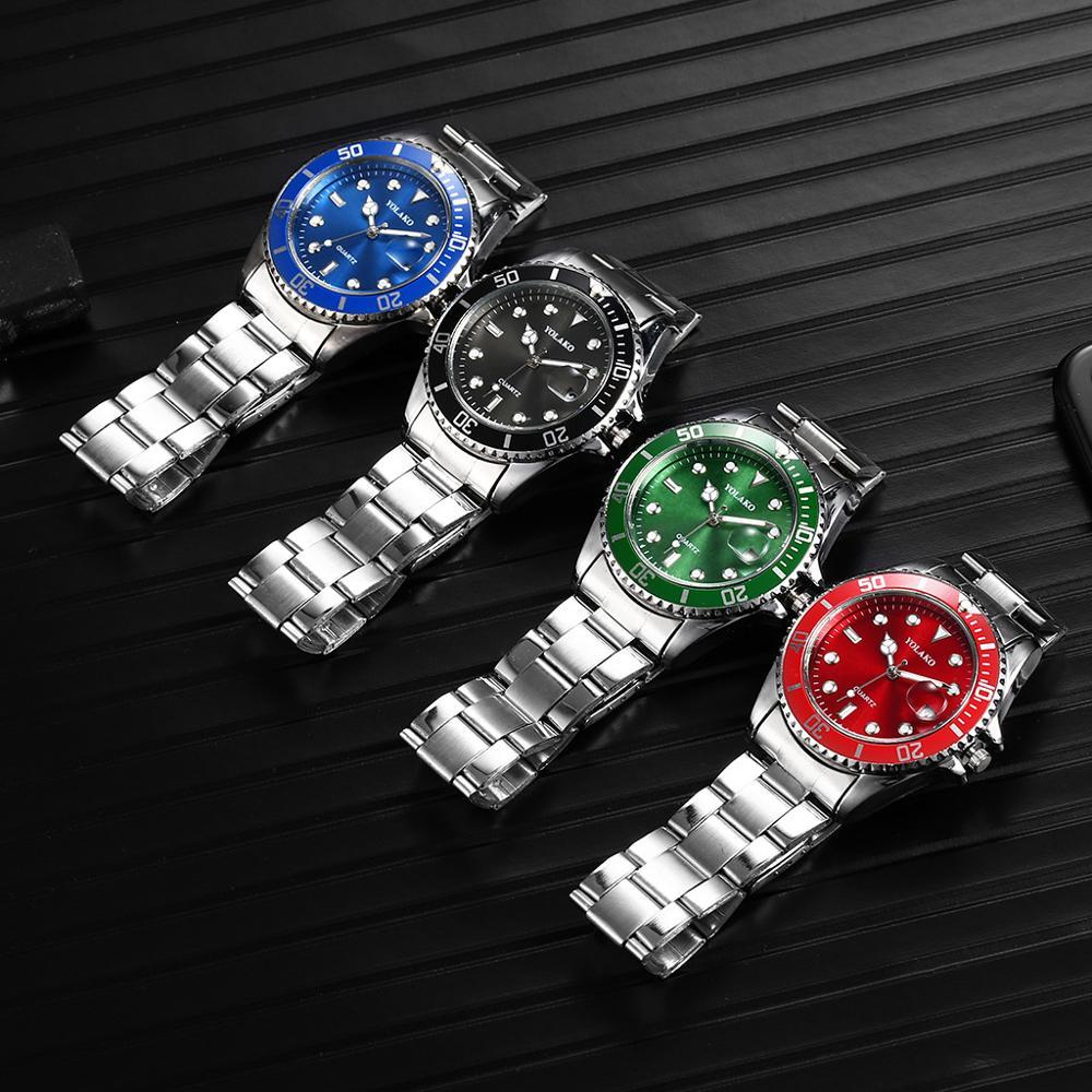 Stainless Steel Mens Fashion Quartz Watches Top Brand Luxury Rolex_Watch Men Waterproof Calendar Clock Male Relogio Masculino