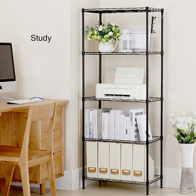 5 Tier Wire Shelves Heavy Duty Adjustable Kitchen Storage Wire Shelf Shelving Rack Microwave Stand with 4 Hooks Leveling Feet 1