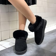 Plush Insole Snow Boots for Women Round Warm Slip On Snow Boots Ladies Turn Over Edge Winter Shoes woman Suede Short Booties(China)