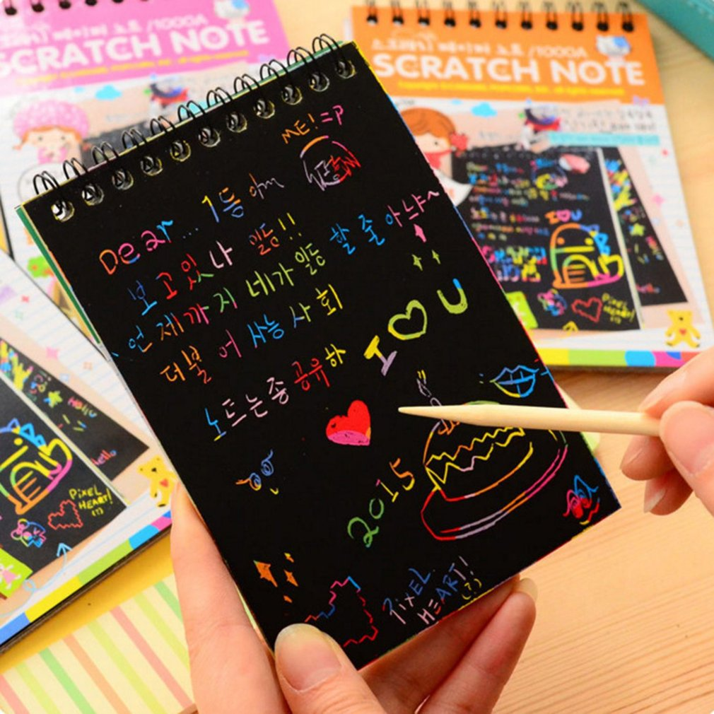 Y031 Creative Color Diy Coil Scratch Picture Children's Graffiti Sketch Book Scratch Painting Picture Green/blue/pink/Orange