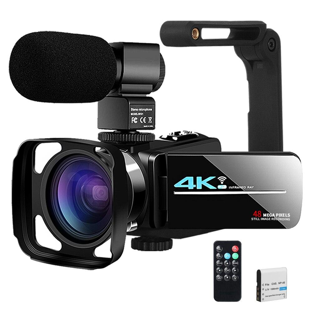 Видеокамера YouTube, камера для влога, прямой трансляции, ИК ночное видение, UHD 4K веб-камера 48 МП 16X, цифровая видеокамера