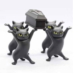 Carrying A Coffin Cat Pen Holder Home Bookshelf Decoration Animal Statue Handmade Home Doll Decoration Kid Funny Toy Gift