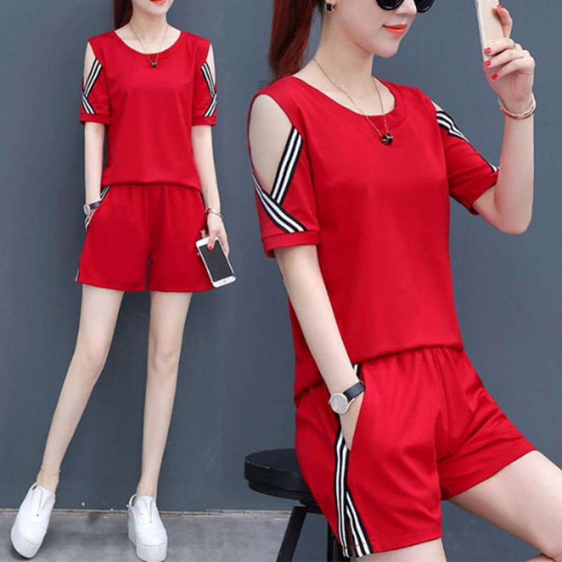 Large Size Women's Casual Suit Summer Loose Thin Strapless Two-piece Short-sleeved T-shirt