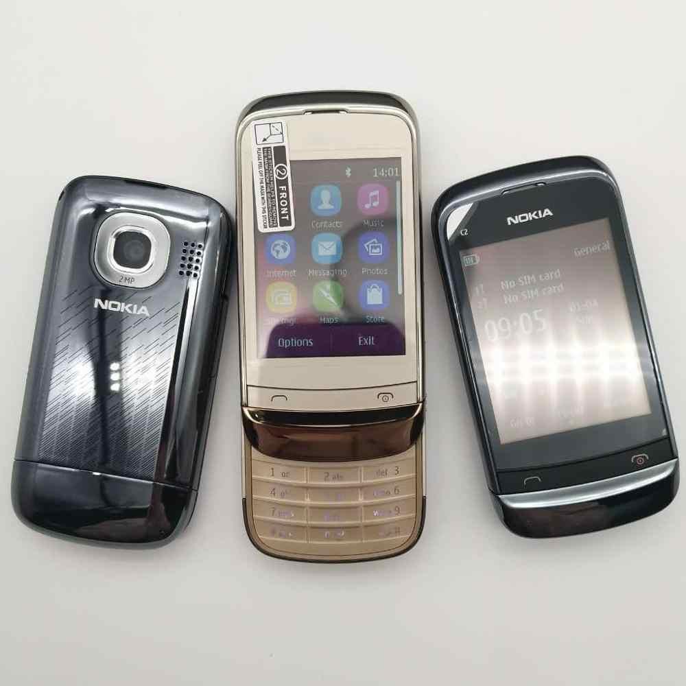 100% original nokia C2-03 desbloqueado duplo cartão sim 2.6 polegada 2.0mp bluetooth rádio fm java telefone móvel 1020mah battey frete grátis
