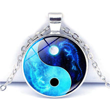 New Accessories Dragon Moon Yin Yang Tai Chi Time Gem Necklace European and American Sweaters Chain Pendant Necklace