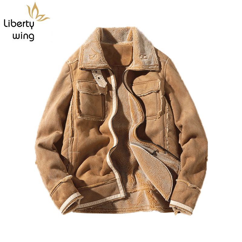 Plus Size 5XL Suede Jacket Men Thick Fur Lining Warm Lapel Zipper Solid Faux Leather Overcoat High Quality Casual Male Clothes