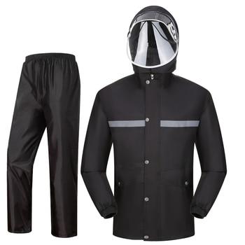 Waterproof Scooter Raincoat Pants Set Outdoors Men Raincoat Thick Waterproof Impermeable Chubasquero Hombre Rain Gear JJ60YY