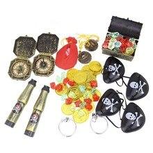 60pcs Pirate Treasure Toy Dress Up Props Cosplay Costume Tools Gold Coin Mini Cartoon Pocket Treasure Box For Kids Children