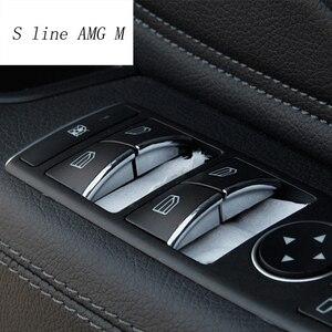Decoración de botones de elevación de ventana de estilo de coche pegatinas de decoración para Mercedes Benz Clase C E W204 W212 accesorios interiores