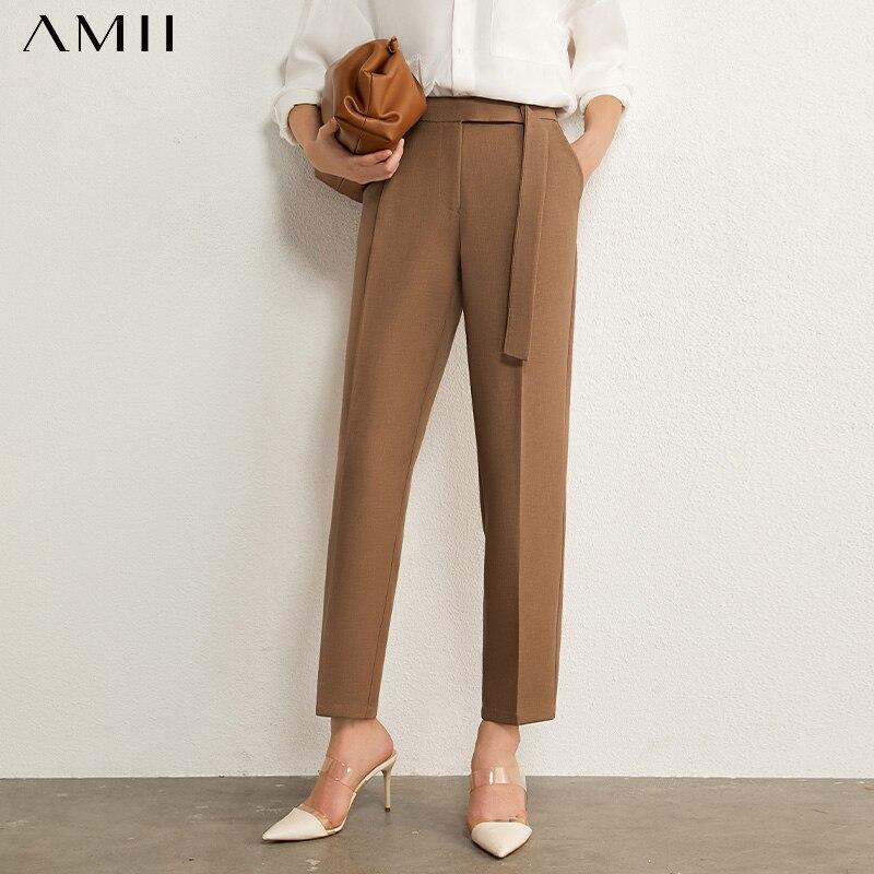 Amii minimalismo otoño Pantalones de mujer OLstyle traje Pantalones casual sólido alto cintura recta mujeres pantalones femeninos 12030406