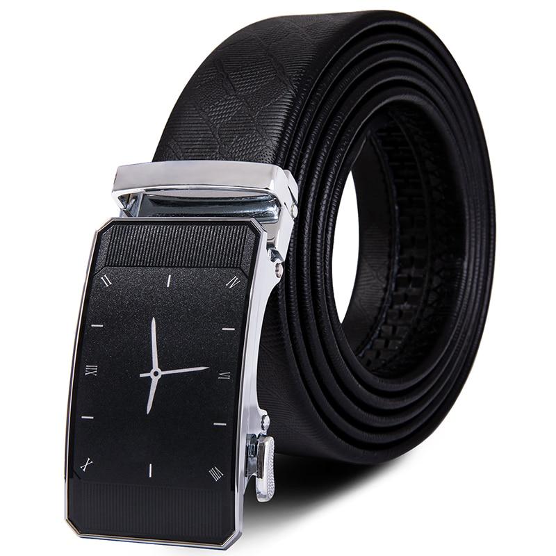 Men Belt Male Genuine Leather Strap Belts For Men Top Quality Automatic Sliver Buckle Black Belts Famous Brand Cinturon Hombre