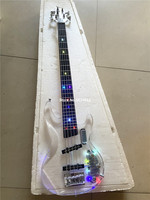High quality custom version 5 string acrylic crystal transparent plexiglass electric bass guitar LED color flashing, free shippi