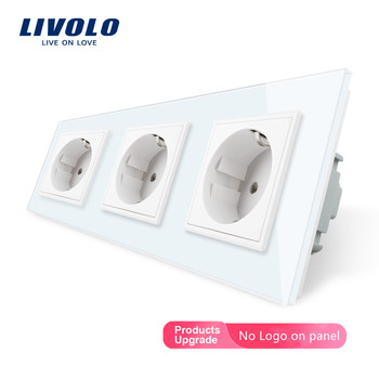 Livolo New EU Standard Power Socket, Outlet Panel, Triple Wall Power Outlet Without Plug,Toughened Glass C7C3EU-11/2/3/5
