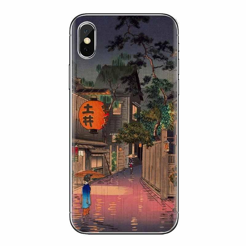 Para Huawei Honor 5A LYO-L21 Y6 II compacto Y5 2 Y5II Mate 10 Lite Nova 2i 9i Japón grúa Fuji carcasa de silicona de onda de montaña
