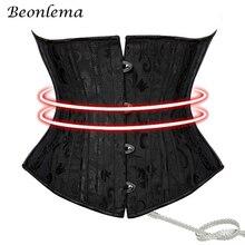 Beonlema, corsé que adelgaza la cintura, bajo el busto, accesorios Steampunk para mujer, corsés negros de XS-3XL