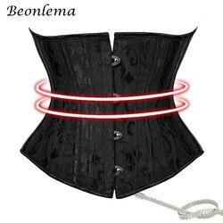 Beonlema Women Steel Bone Waist Trainer Underbust Corset Steampunk Gothic Clothing Black Corsets Belt Waist Slimming Corselet