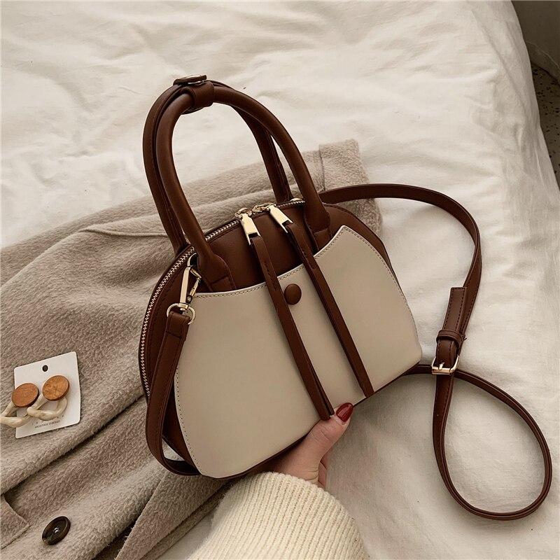 Burminsa Spring Shell Women Messenger Bags Double Zippers Small Female Shouder Bags Unqiue Design Patchwork Girls Handbags 2020