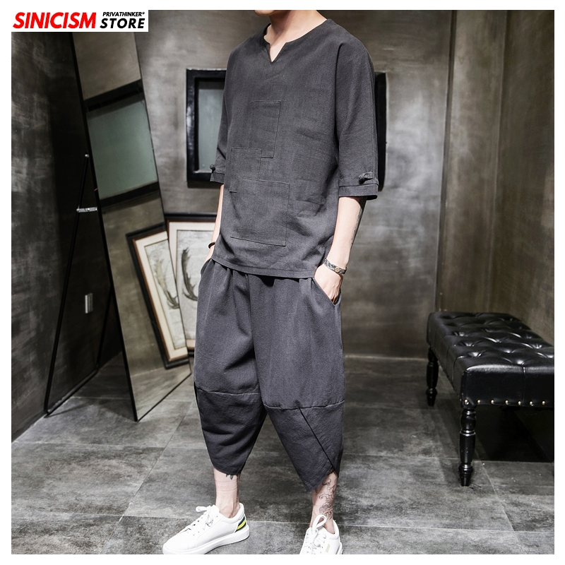 Sinicism Store Cotton Linen Solid Summer Tracksuit Men 2020 Mens Loose Pant Suit Sets Male Fashion Casual Chinese Style Oversize
