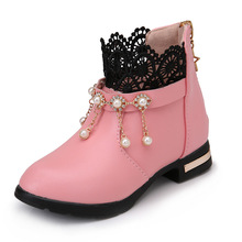COZULMA Winter Girls Fur Ankle Boots Autumn Kids Girls Pearl Martin Boots Children Shoes Girls Princess Lace Boots size 27-37 fashion girls children short boots kids leather boots high heels winter warm shoes girls children kids princess boots size 27 38