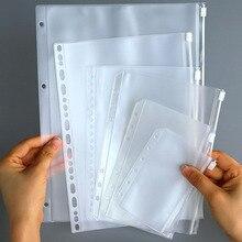 1 Pcs A4/A5/A6/A7/B5 Binding Loose-Leaf File Bag Folder PVC Translucent Self-Styled Zipper Pouch Filing Storgae Organizer Bags