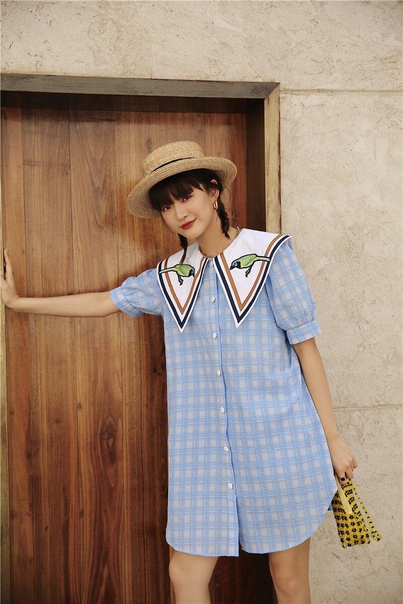 Blue Plaid Summer Shirt Dress