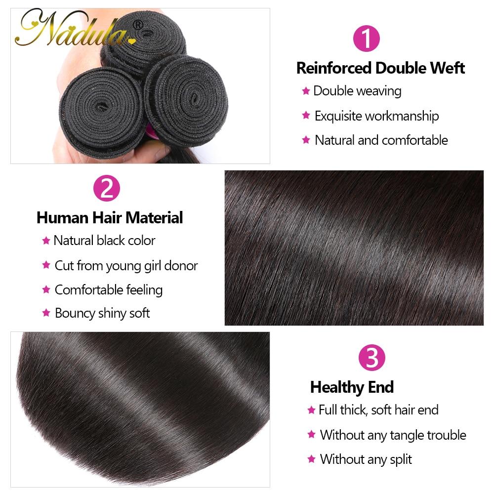 NADULA HAIR 13*4 Lace Closure Frontal Straight Hair Bundles With Frontal  3 Bundles with Closure 4x4 Silk Base 4