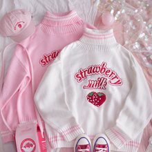 Soft Girl Lolita-Top Strawberry Sweater College-Style Pink Sweet Princess Kawaii Student