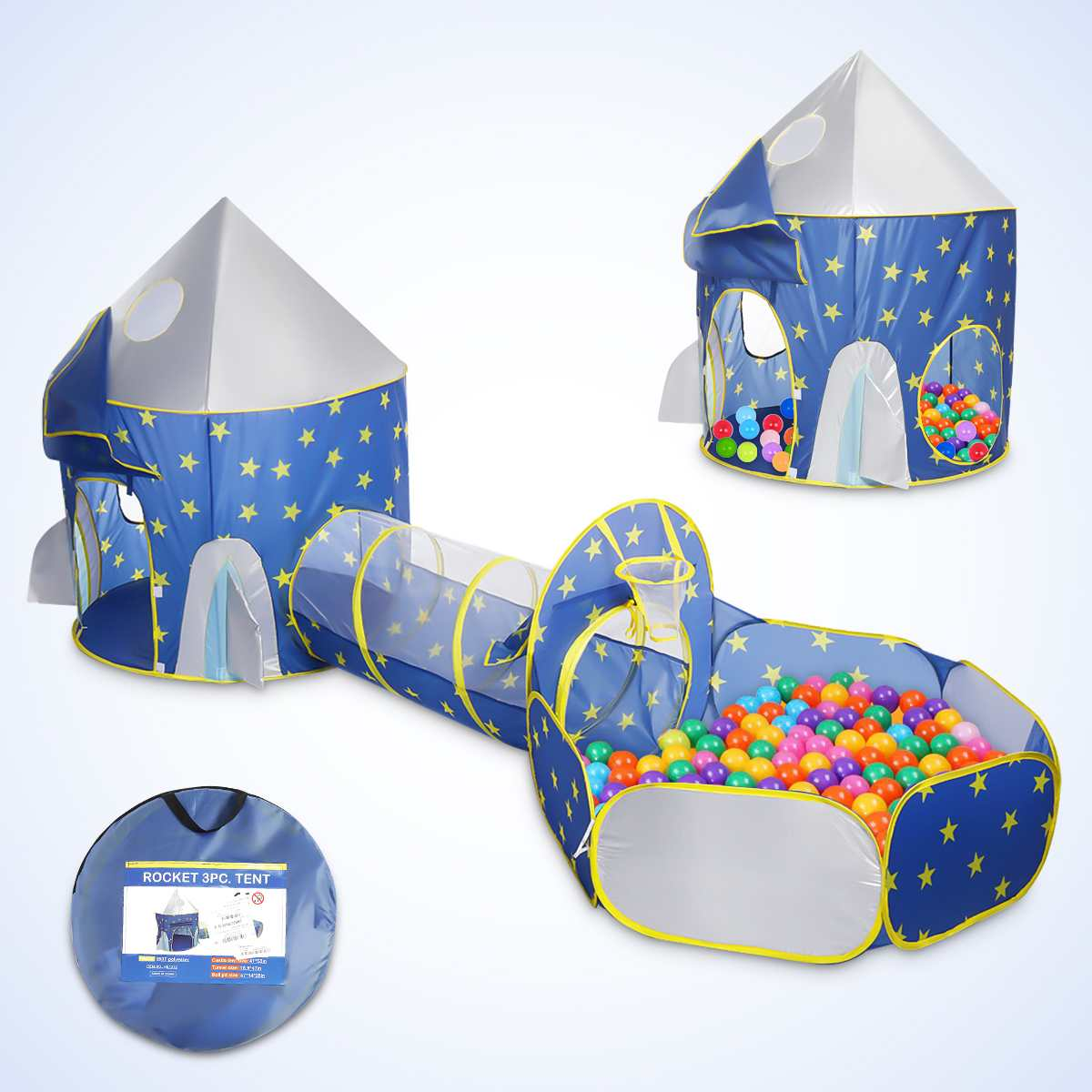 3 In 1 Children's Tent Spaceship Tent Outdoor And Indoor Space Yurt Tent Game House Rocket Ship Crawling Play Tent Ball Pool