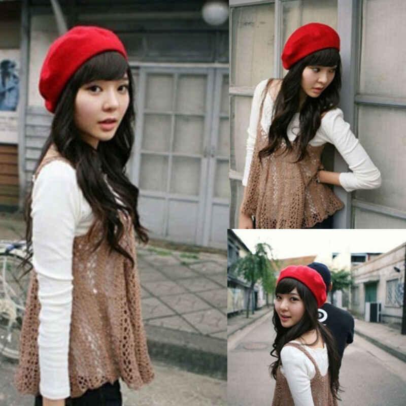 フランスのビンテージユニセックス女性ウール暖かい無地ベレー帽ビーニー帽子キャップ 11 色