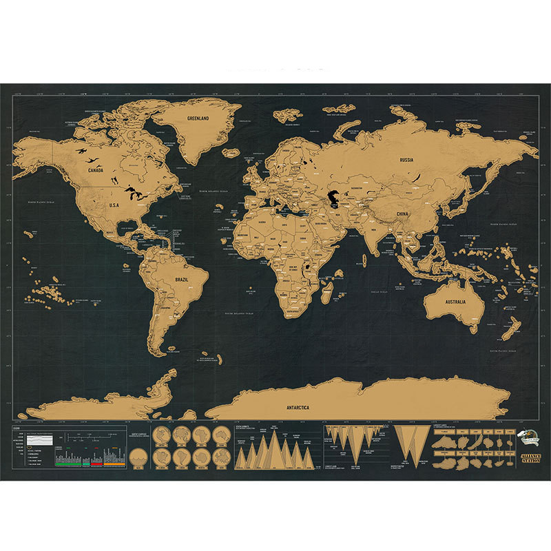 Deluxe Black Scratch Off World Map Black Map Scratch Best Decor School Office Stationery Supplies Wall Stickers