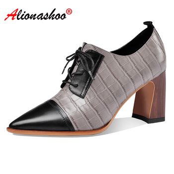 Women genuine leather patchwork high heel pump shoes lace up dress shoes womens black grey elegant women office shoes size 34-40