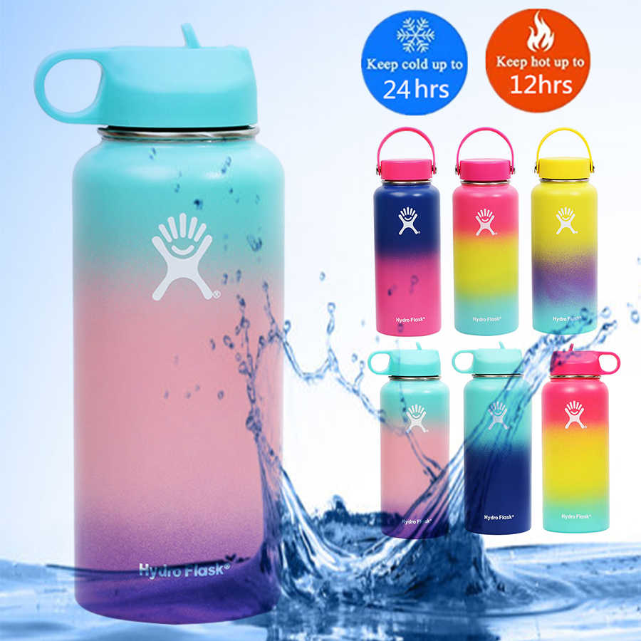 32 Oz Thermal Botol Hydro Flask Termos Kawaii Botol Stainless Steel Portable Garrafa VSCO Gadis Bottlethermos Tutup