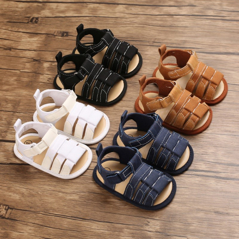 Weixinbuy Infant Baby Boys Canvas Soft Sole Anti Slip Summer Sandals Shoes
