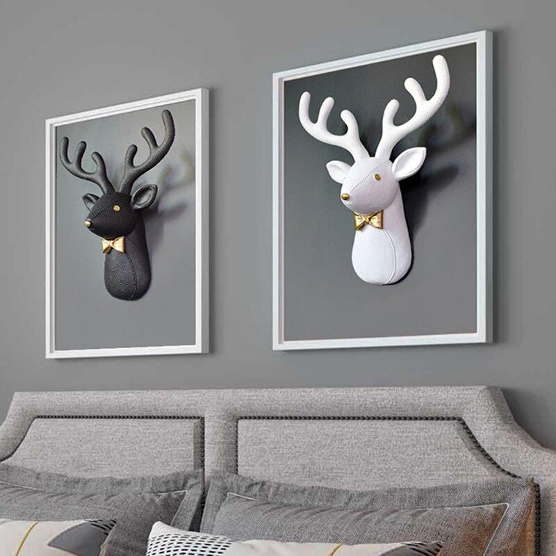 Home Wall Decor,3D Deer Head,Statue,Sculpture,Living Room Decoration Accessories,Figurine Miniature,Size 30*35*13cm,Hanging Art