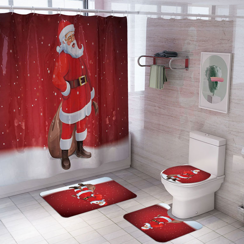 Christmas Shower Curtain Carpet Mat Toilet mat set Cartoon Santa Claus Shower Curtain Rugs Christmas Decor for Home Bathroom