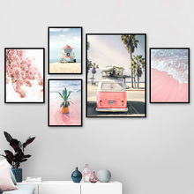 Pink Beach Coconut Bus Peach Blossom Wall Art Canvas Painting Nordic Posters And Prints Pictures For Living Room