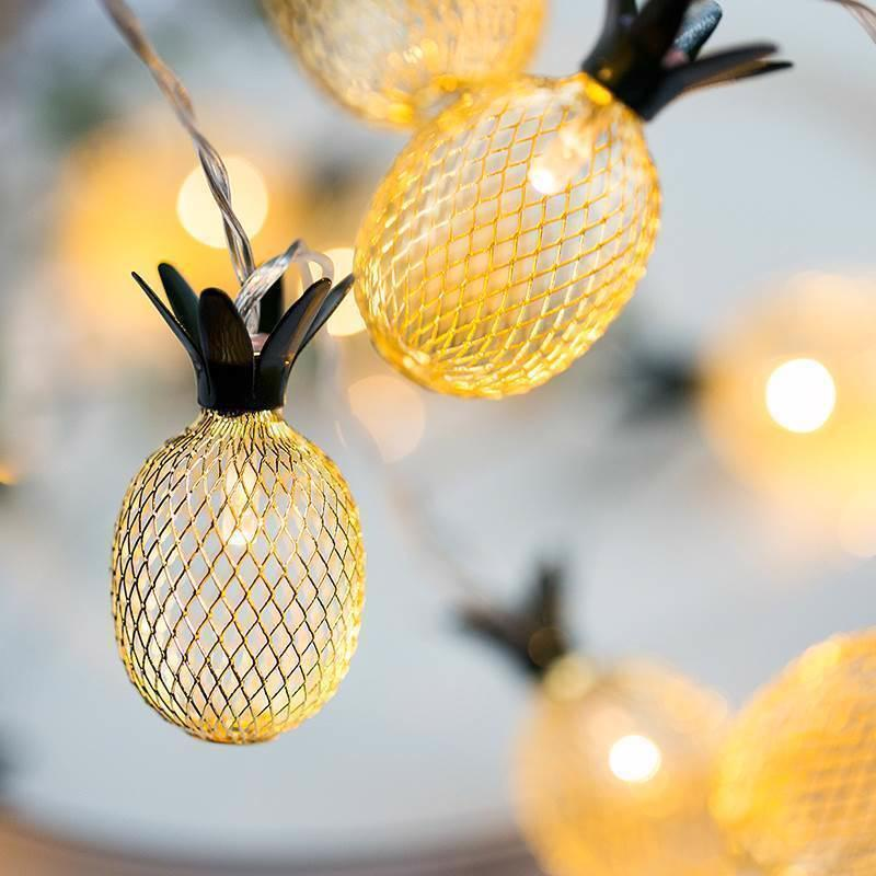 Vintage Iron Pineapple Light String Lucky Light String Lantern Romantic Xmas Wedding Party Lamp