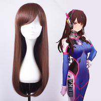 Game OW Cosplay Wigs DVA Cosplay Wig Women Wig Hair Halloween Party Heat Resistant Synthetic Wig