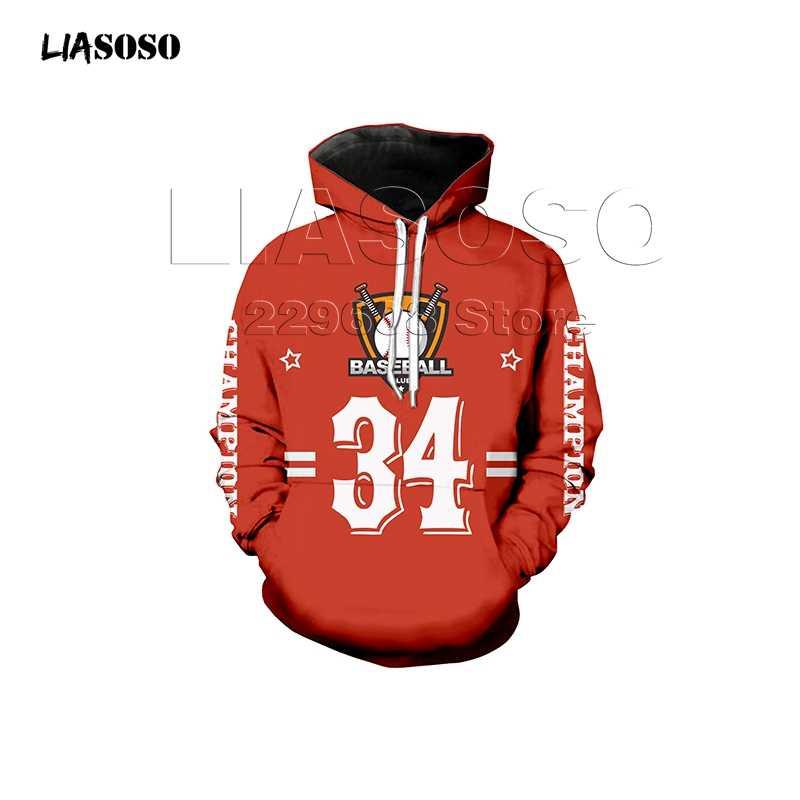 Harajuku Hooded Sweatshirt Wanita Pria Bisbol Hockey Seragam 3D Hoodie Pakaian Pullover Nomor T-Shirt Jumper DROP