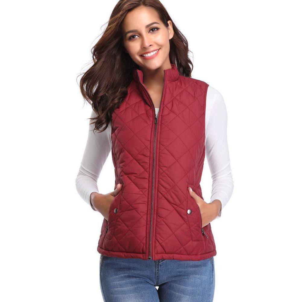 Womens Autumn Winter Warm No Sleeves Coat Solid Color Stand Collar Padded Vest Coat Tops Slim Women's Windproof Warm Waistcoat